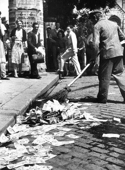 Sweeping up worthless currency: Hungary 1946
